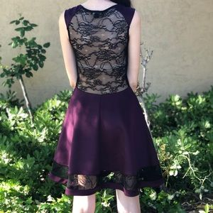 Purple and Black Lace Skater Dress